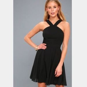 Lulu's Size Small Black Halter Midi Skater Dress